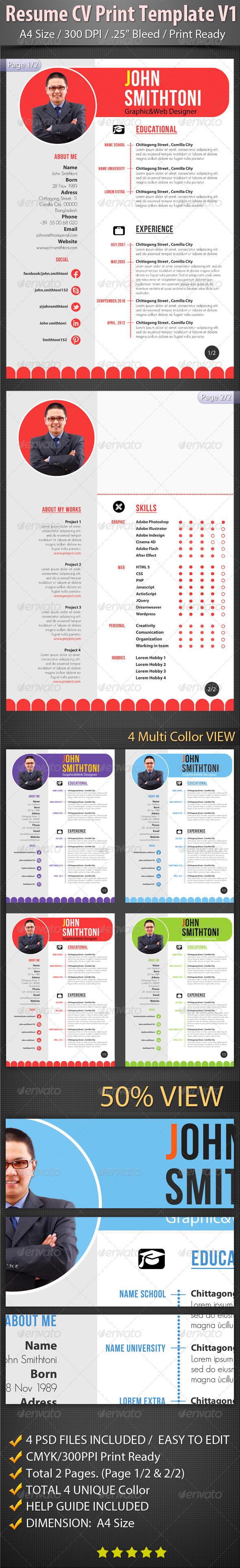 Resume CV Print Template V1