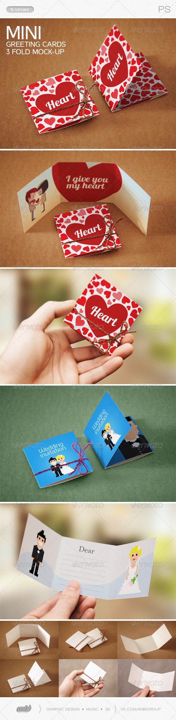 GraphicRiver Mini Greeting Cards 3 fold Mock-up 6529886