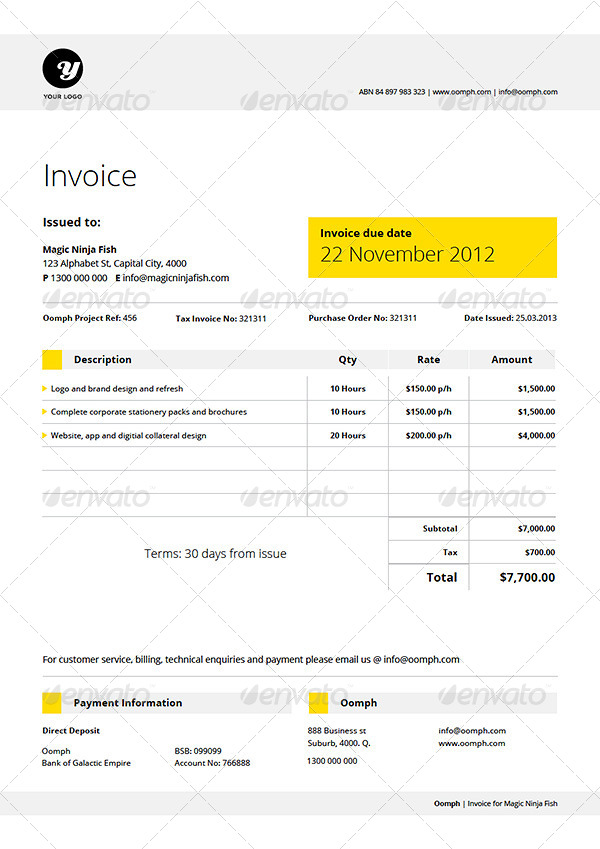 billem - invoice template set by kennywilliams | graphicriver, Invoice templates
