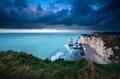 storm over cliffs in Atlantic ocean