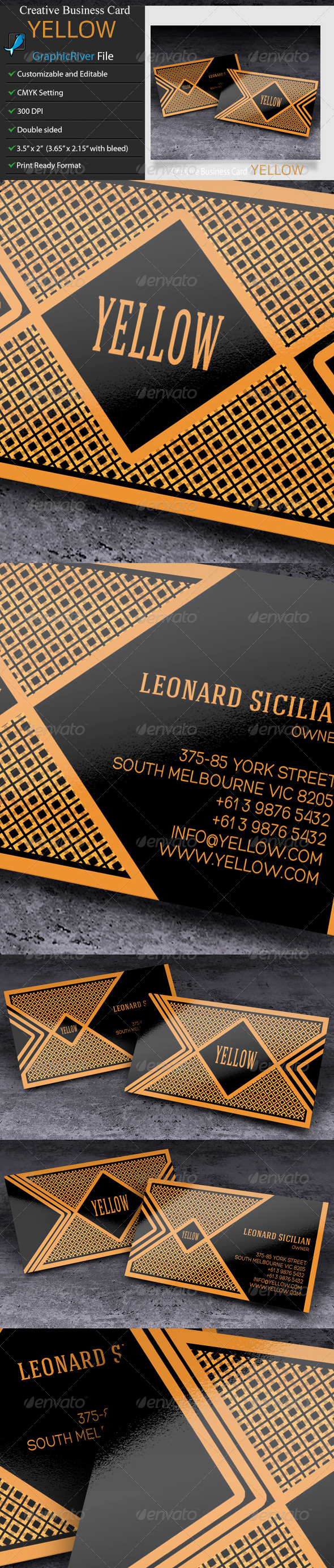 GraphicRiver Business Card Yellow 6530643
