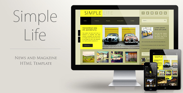 Simple Life - Blog, News, Magazine HTML template - theme preview