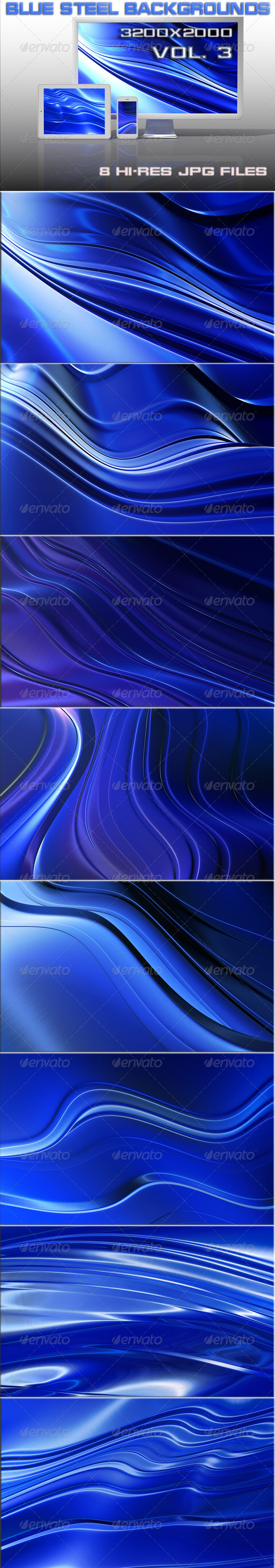 GraphicRiver Techno Blue Steel Backgrounds 6531177