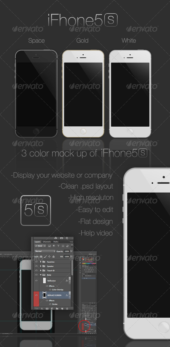 GraphicRiver iFhone5s Flat Mock-Up 6528391
