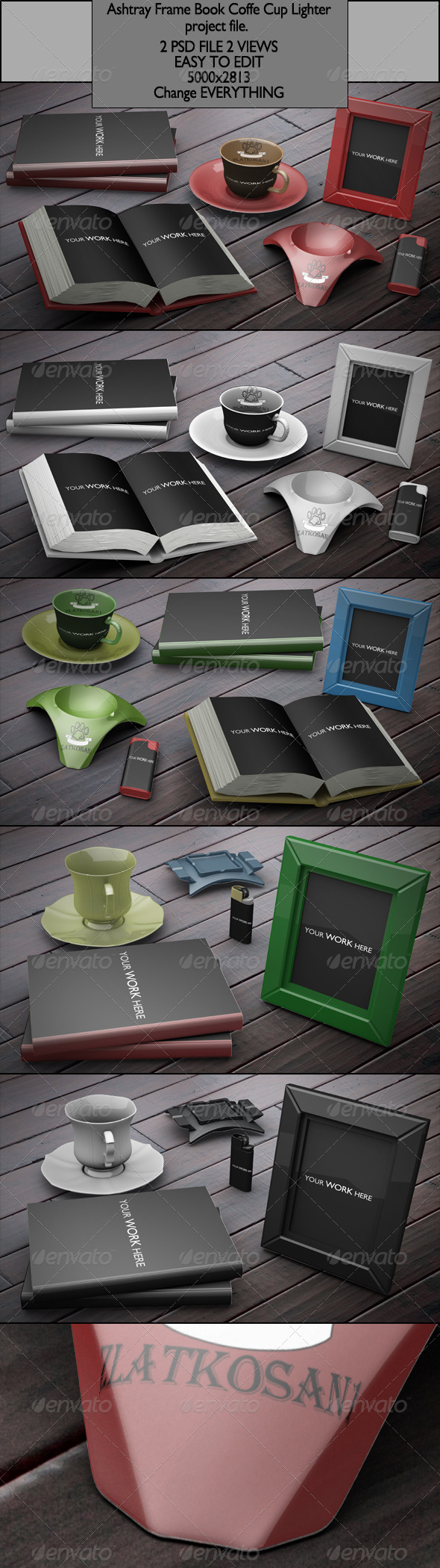 GraphicRiver Ashtray Frame Book Coffe Cup Lighter project file 6531396