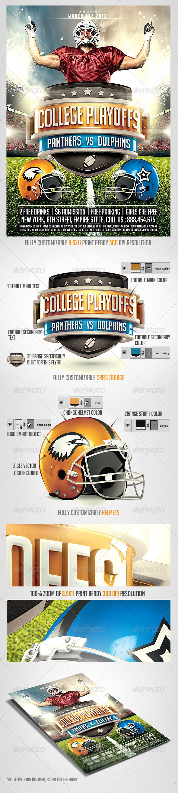 GraphicRiver Football Big Game Flyer Template 6507332