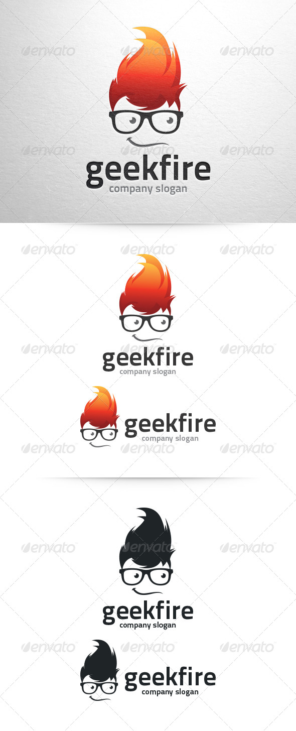 GraphicRiver Geek Fire Logo Template 6531619