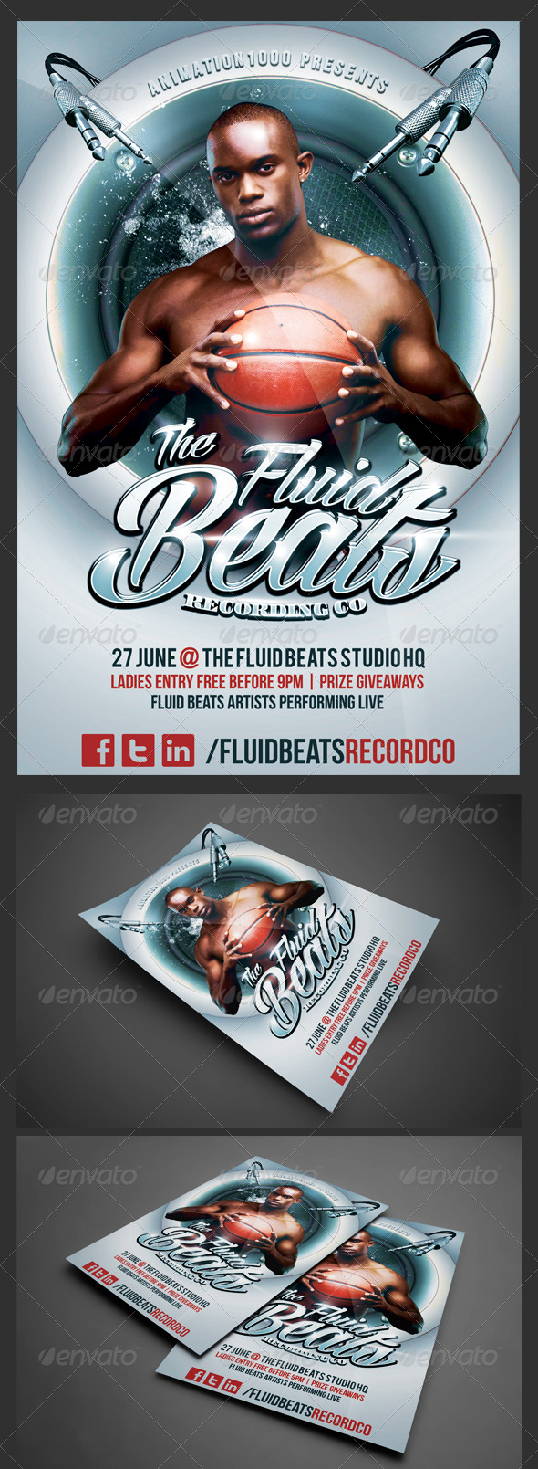 Fluid Beats Flyer Template - Clubs & Parties Events