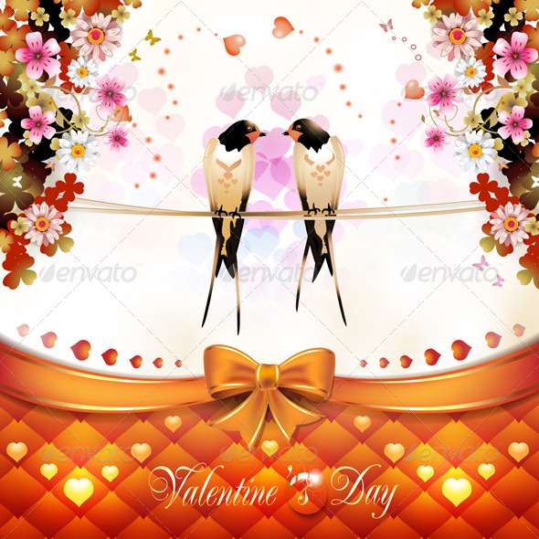 GraphicRiver Valentine s Day Card with Two Swallows 6532009