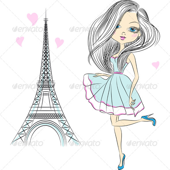 GraphicRiver Fashion Girl in Paris 6532694