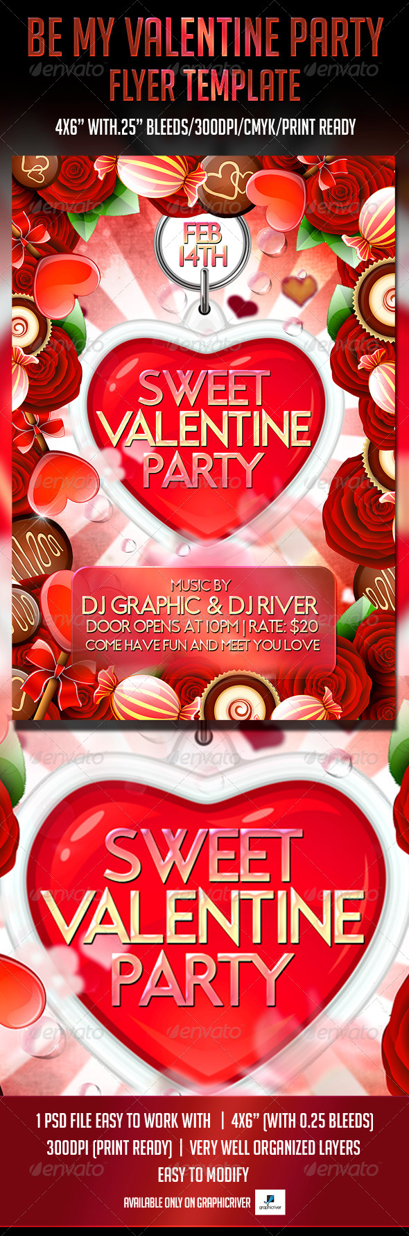 GraphicRiver Sweet Valentine Party Flyer Template 6533039