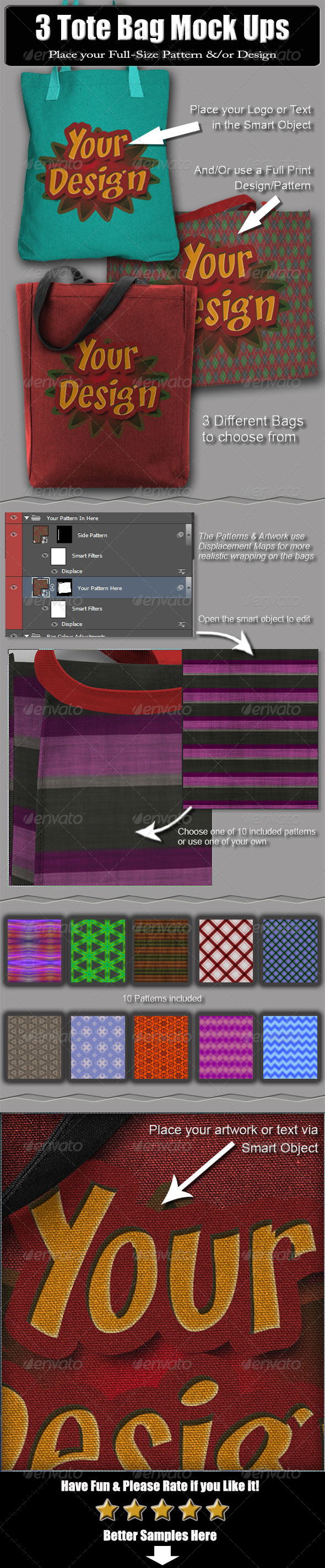 GraphicRiver 3 Tote Bag Mock Ups 6533321