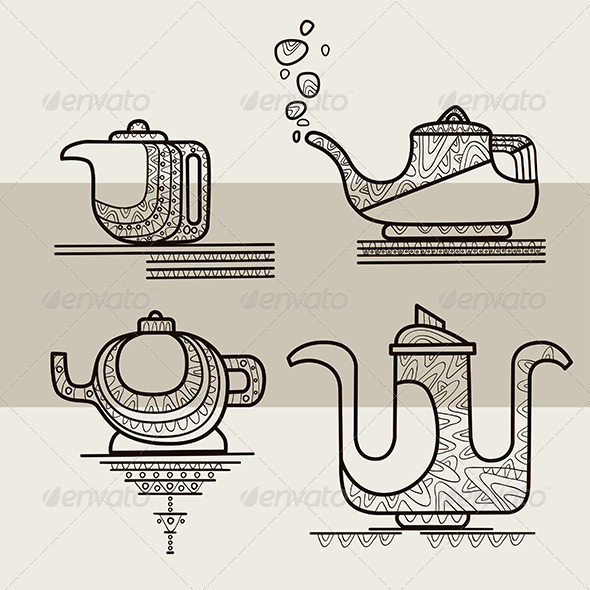 GraphicRiver Set of Four Stylized Silhouettes of Teapots 6533323