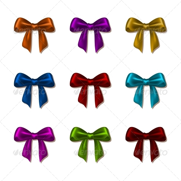 GraphicRiver Set of Elegant Silk Colored Bows 6533329