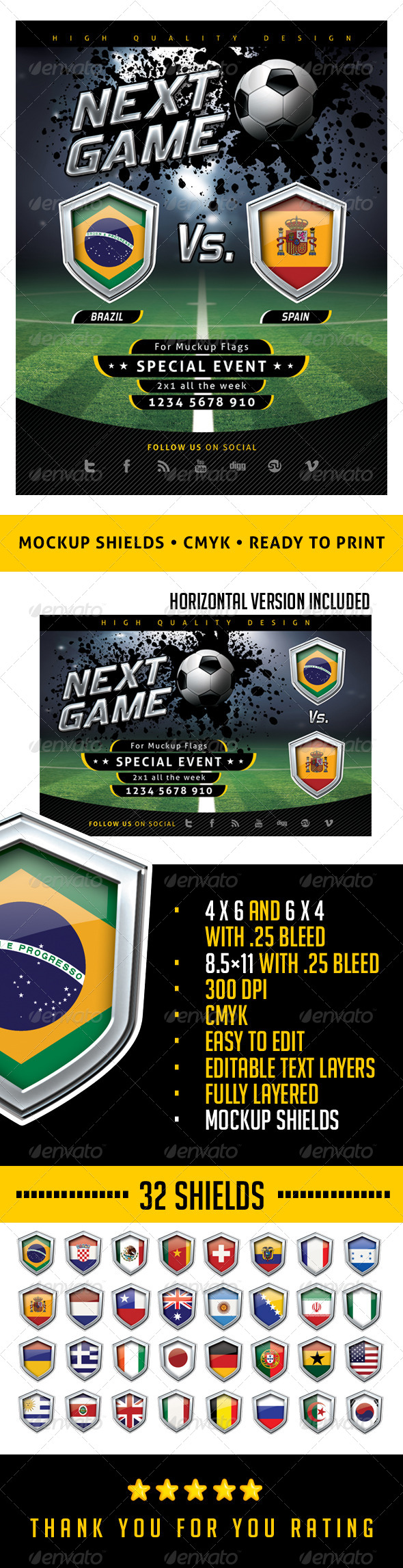 GraphicRiver Flyer Soccer Template with Mockup Shields 6502798