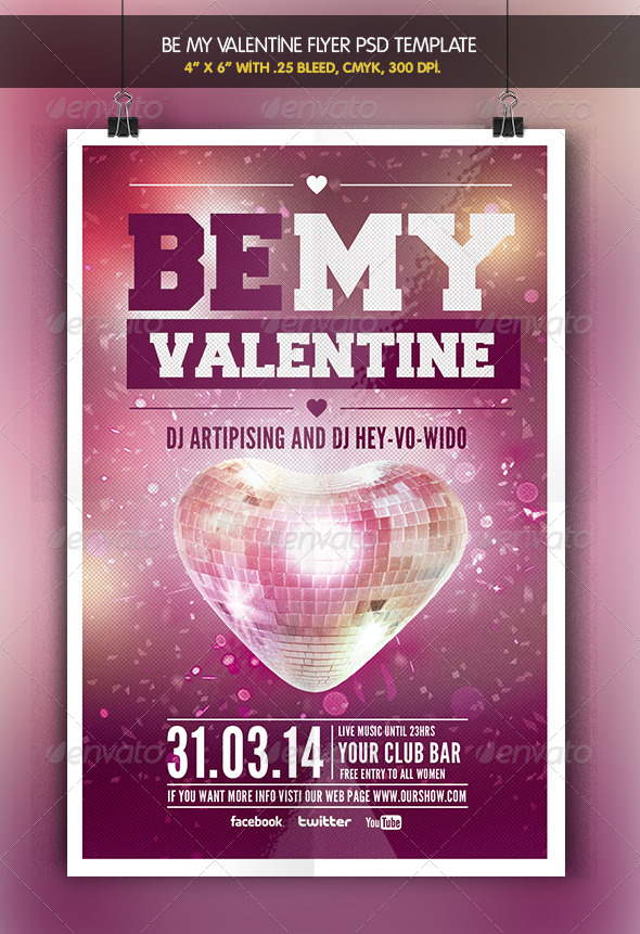 GraphicRiver Be my Valentine Party Flyer Template 6533604
