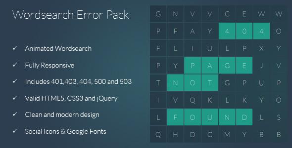 ThemeForest Wordsearch Responsive 404 Error Pack 6531230