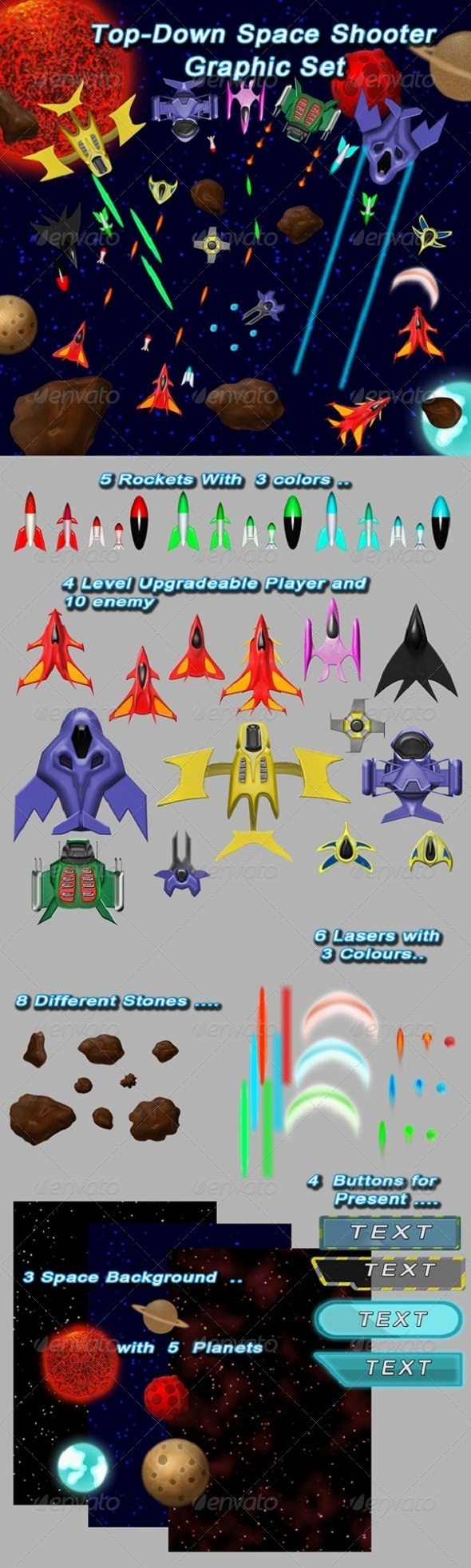 GraphicRiver Top-Down Space Shooter Graphic Set 6460250
