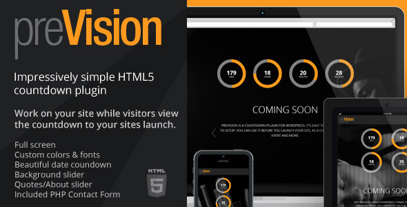 ThemeForest preVision Responsive Coming Soon Landing Page 6527821