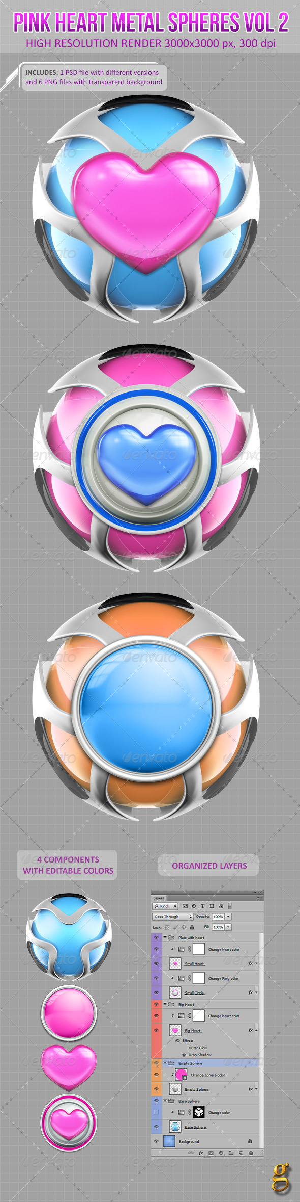 GraphicRiver 3D Pink Heart Metal Spheres Vol 2 6533890
