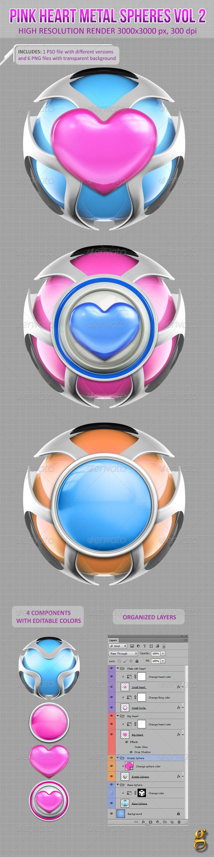 3D Pink Heart Metal Spheres Vol 2
