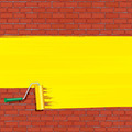 Yellow Roller Brush Painting on Brick Wall. - PhotoDune Item for Sale