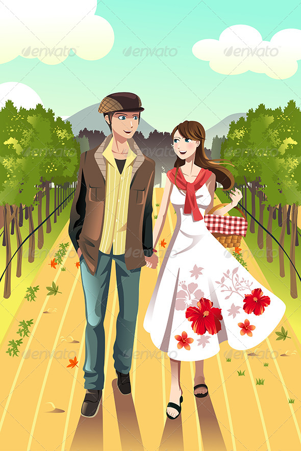 GraphicRiver Couple Walking in a Winery 6534028