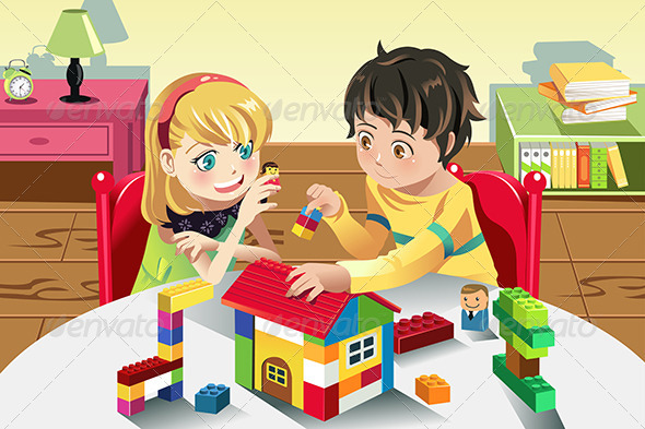 kids playing with toys graphicriver. Black Bedroom Furniture Sets. Home Design Ideas