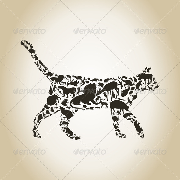 GraphicRiver Cat Made of Animals 6534311