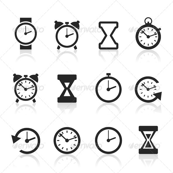 GraphicRiver Clock and Time Icons 6534480