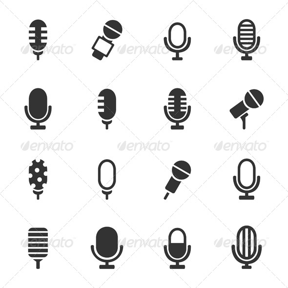 GraphicRiver Microphone Icons 6534574
