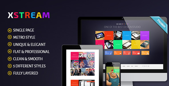 XTREAM - Metro Style Single Page PSD Theme - Portfolio Creative
