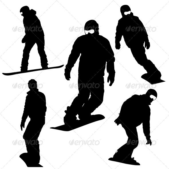 GraphicRiver Snowboard Silhouette Set 6534813