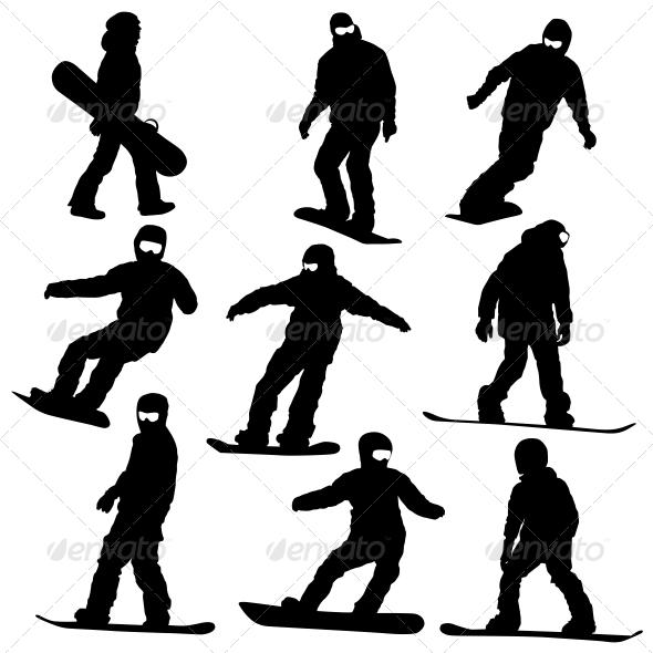 GraphicRiver Snowboard Silhouette Set 6534841