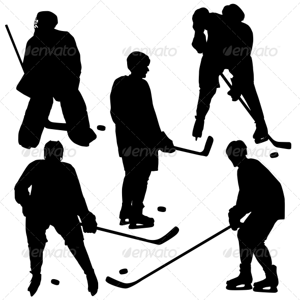 GraphicRiver Set of Silhouettes of Hockey Player Vector 6534843