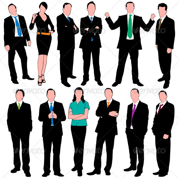 12 Business People Silhouettes Set