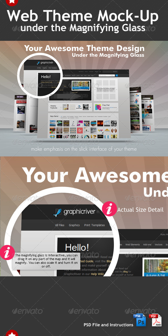 GraphicRiver Web Theme Under the Magnifying Glass Mock-Up 678038