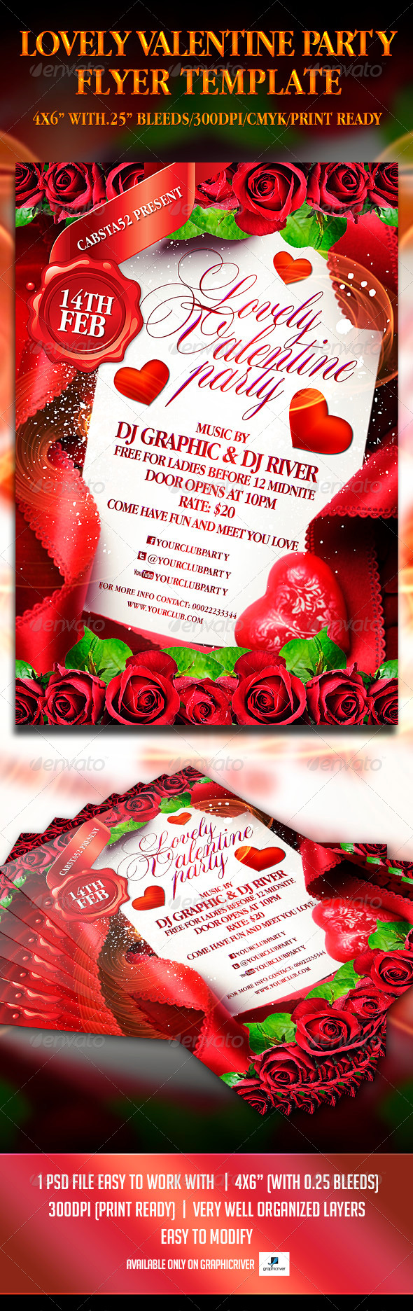 Lovely Valentine Party Flyer Template