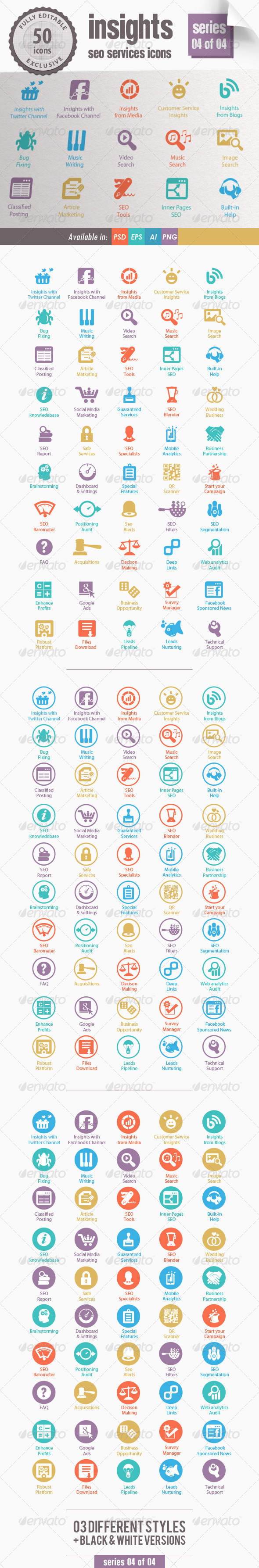 Insights SEO Services Icons - Series 04 of 04 - Web Icons