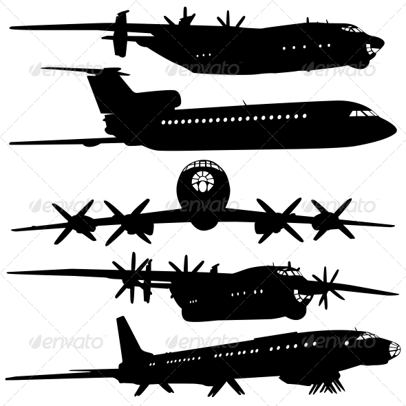GraphicRiver Collection of Different Airplane Silhouettes 6536495
