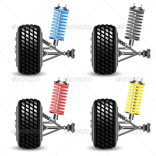 GraphicRiver Set Car Suspension Frontal View 6536519