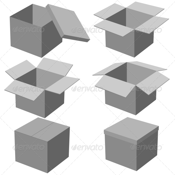 GraphicRiver Six Boxes Isolated on White Background 6536520