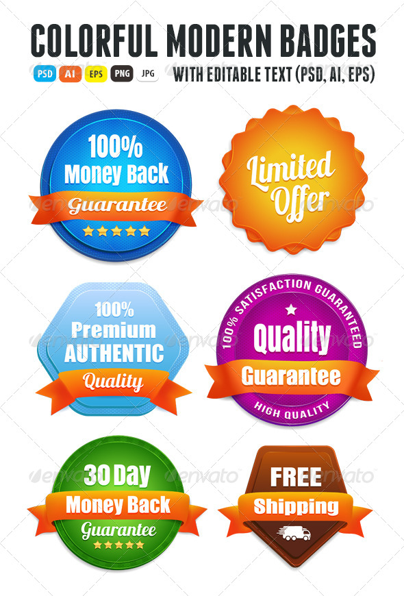 GraphicRiver Modern Quality Guarantee Badges 6536544