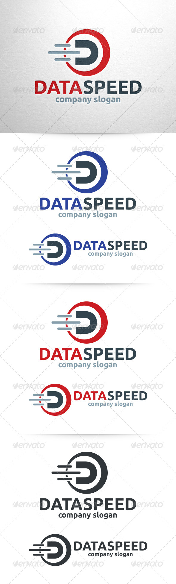 Data Speed - Letter D Logo