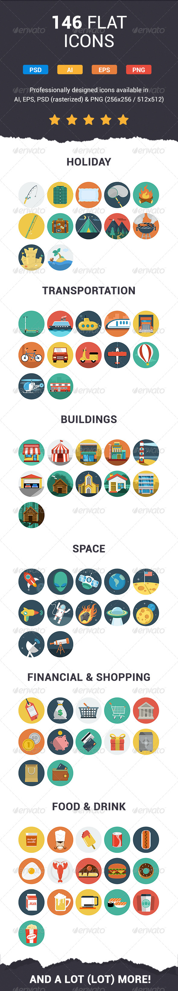 GraphicRiver 146 Flat Icons 6504697