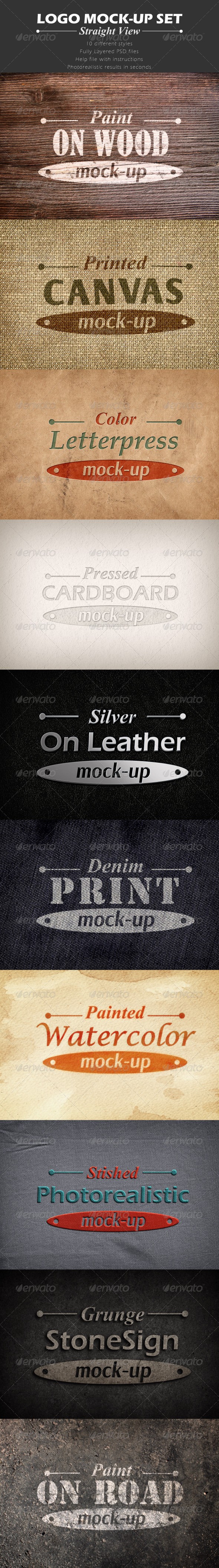 GraphicRiver Set of 10 Logo Mock-ups Straight View 6536876