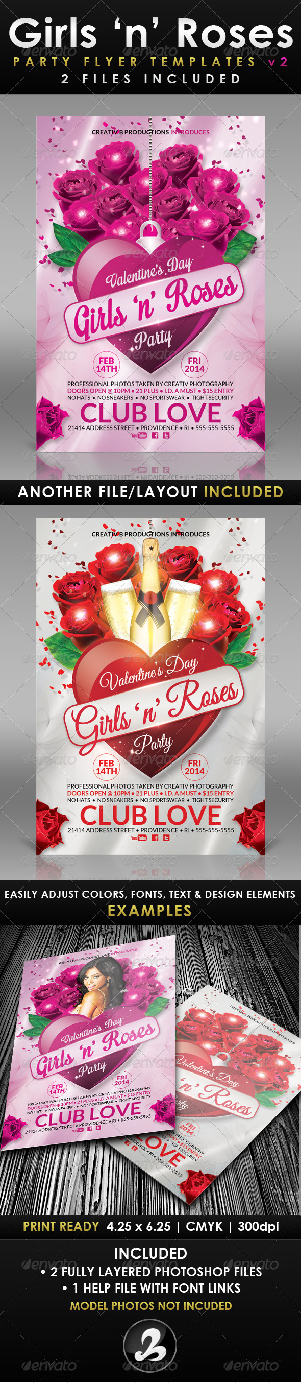 GraphicRiver Girls n Roses Valentine s Day Flyer Template 2 6537005