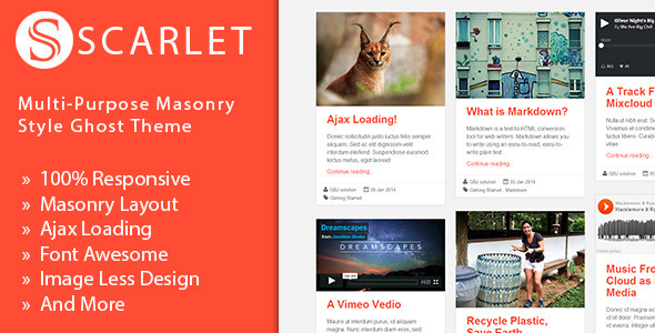 Scarlet - Multi-Purpose Masonry Style Ghost Theme - Ghost Themes Blogging