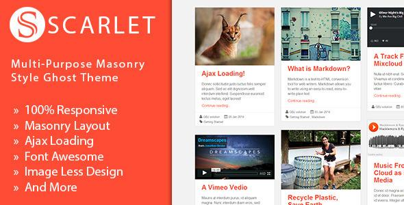 ThemeForest Scarlet Multi-Purpose Masonry Style Ghost Theme 6526209