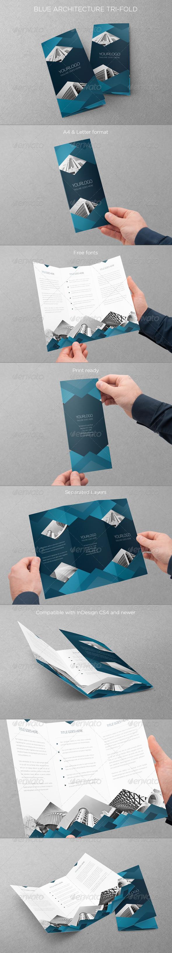 GraphicRiver Blue Architecture Trifold 6537187